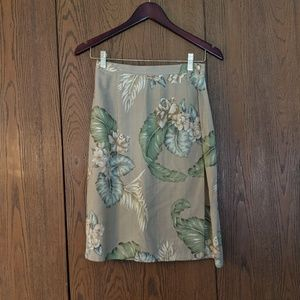 Tropical print silk wrap skirt